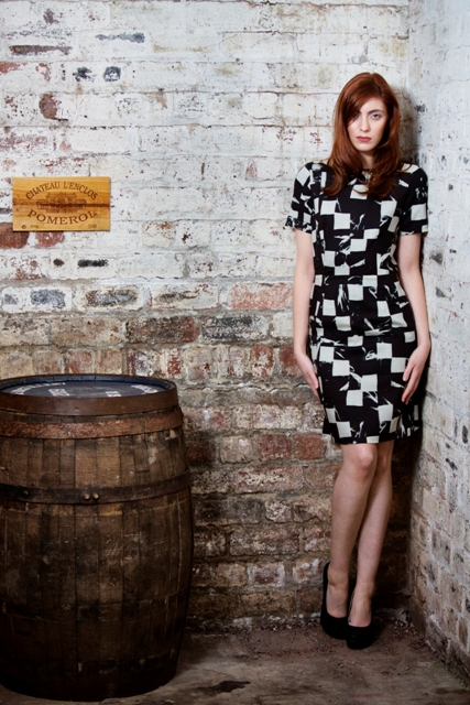 Acanthium Dress with keyhole back in wool delaine